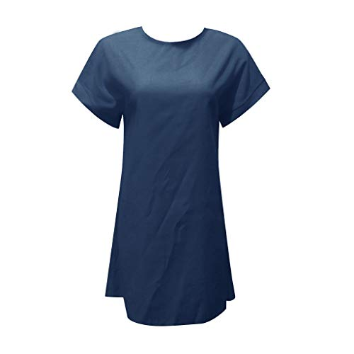 CCOOfhhc Women's Mini Dress Casual Solid Color Shirt Short Sleeve Dress Crew Neck Linen Dress with Pockets Blue