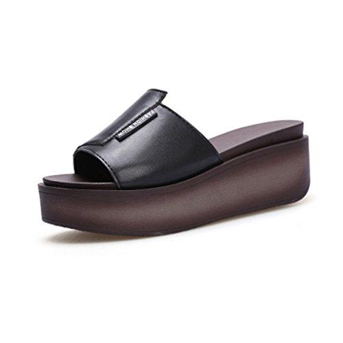 Toe Sandales Forme Mode Haut de Noir Robe Plage Diapositives Plate Cales Sandales Ouvert Casual Talon Chunky Femmes gZfzqwEW