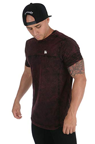 YoungLA Mens Workout Tees   Cool Casual T Shirt   Gym Bodybuilding Fitness Clothes   Long Stylish Summer Apparel   406 Burgundy Wash X-Large - Mineral Wash Tee