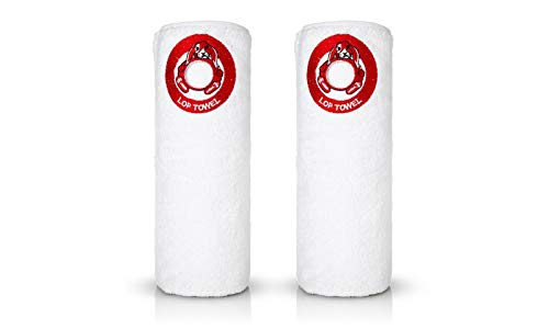 (White Bath Towel with Lop Embroidery, Red Logo Come in 6, Easy to Hang The Towel Hang by The Loop of Lop, Genuine Soft 100% Turkish Cotton, Comes Two Towels in a Gift Box, 550gsm 28