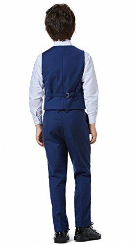 Boys Classic Formal Dress Suits Set 5 Piece Slim Fit Dresswear Suit (8, Navy Blue 2) by WQI.HAN (Image #4)