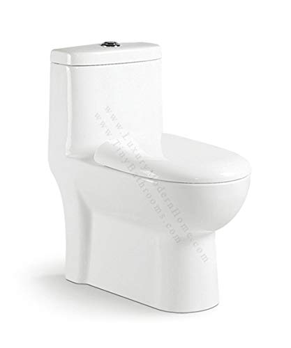 "JULIUS TOILET - 24"" long x 14.25"" wide x 27"" high inch One Piece Short Compact Bathroom Tiny Dual Flush Shortest Projection SMALLEST"