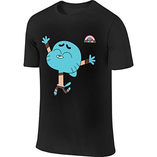 JUDSON Mens Custom Breathable Tee The Amazing World of Gumball Gumball Watterson T Shirts Black -
