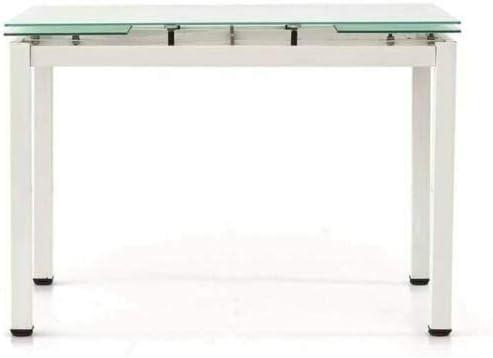 Nashville Tavolo in Vetro da Pranzo Allungabile Fino a 180 cm Con Gambe in Metallo Verniciato Sala da Pranzo Cucina Consolle Tavolino Salotto Salone Arredo Arredamento Bianco 110 x 70 x 76 cm