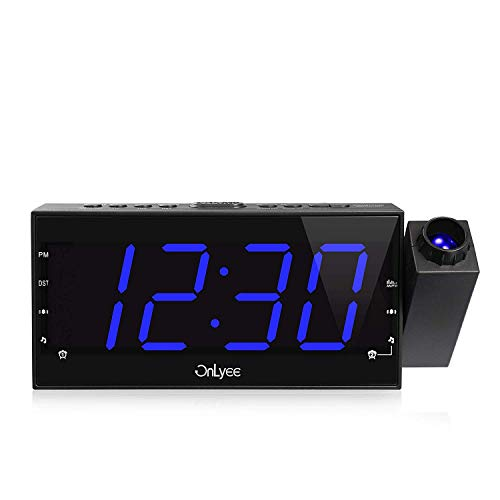 """OnLyee Projection Ceiling Wall Clock, AM FM Radio Alarm Clock, 7"""" LED Digital Desk/Shelf Clock with Dimmer, USB Charging, AC Powered and Battery Backup for Bedroom, Kitchen, Kids"""