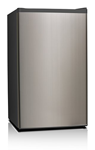 Compact Fridge (Midea WHS-121LSS1 Compact Single Reversible Door Refrigerator and Freezer, 3.3 Cubic Feet, Stainless Steel)