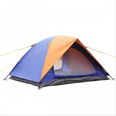 Outdoor Camping Two-Door 2 Personen Polyester Zelt – Orange + Blau