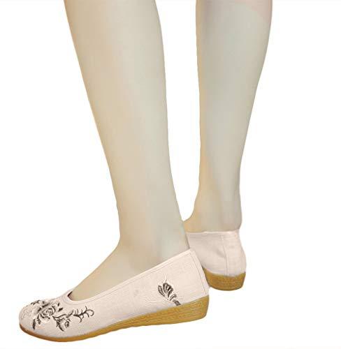 Vintage Brodées Compensées Femmes Chaussures Icegrey Rouge Motif Mocassins Rose 1aFxwv