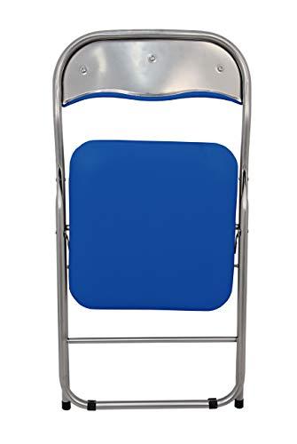 La Chaise Espagnole Sevilla – Chaise pliante fabriqué en aluminium avec siège et dossier rembourrés en PVC, Bleu