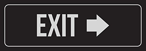 Black Background With Silver Font Exit - Right Arrow Business Retail Outdoor & Indoor Metal Wall Sign - Single, 3x9 Inch hot sale