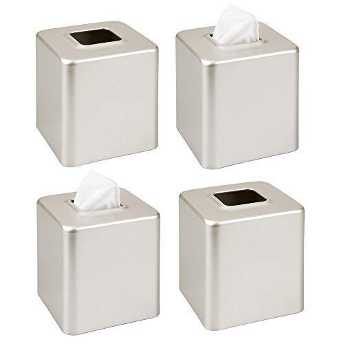 mDesign Modern Square Metal Paper Facial Tissue Box Cover Holder for Bathroom Vanity Countertops, Bedroom Dressers, Night Stands, Desks and Tables, 4 Pack - Satin (Square Iron Tables Nesting)