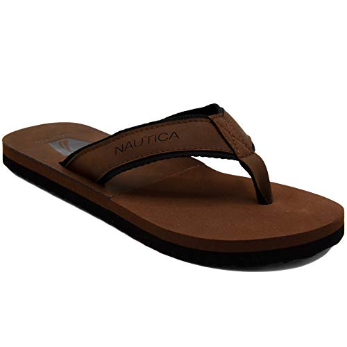 Nautica Men's Flip Flops Light Comfort Beach Sandal, Flat Thong Slides-Masson-Chocolate-13