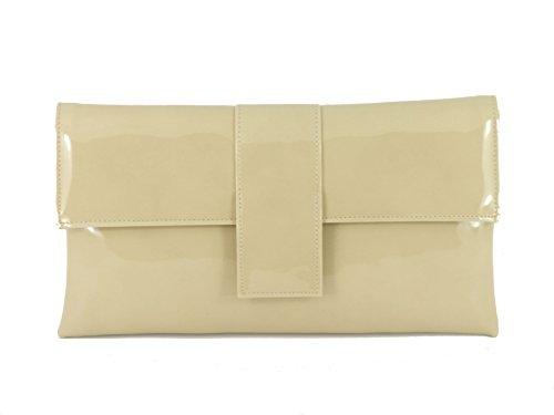 Loni - Bolso de mano de fiesta (piel sintética, con tira para hombro) Beige Nude