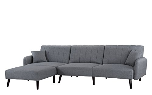 Modern Small Space Convertible Sectional Futon Sofa Sleeper Bed W/ Chaise  Lounge