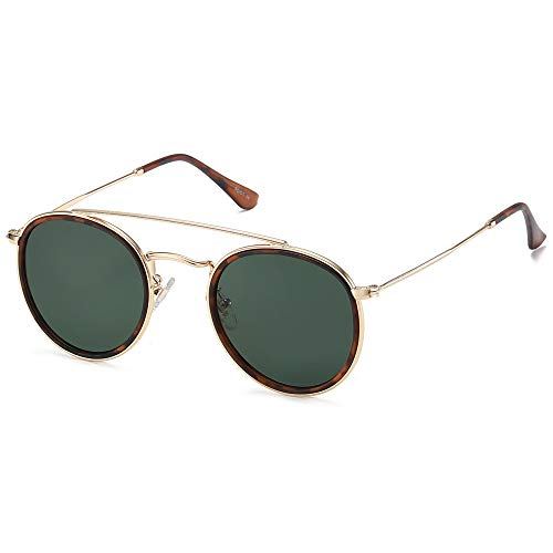 SOJOS Small Retro Round Polarized Sunglasses UV400 Double Bridge Sunnies SUNSET SJ1104 with Gold Frame/Matte Tortoise Rim/G15