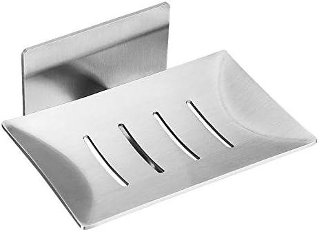 自己接着性ソープホルダー、掃除が簡単な壁掛けステンレススチール、自動排水クリエイティブソープボックス、キッチンまたはバスルーム用ソープボックス、シルバー