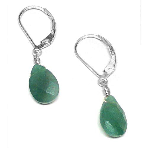 Dark Green Aventurine Briolette Sterling Silver Lever Back Earrings Custom (Green Aventurine Briolette Earrings)