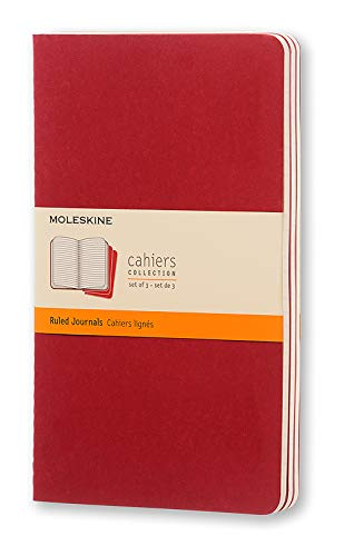 """Moleskine Cahier Journal, Soft Cover, Large (5"""" x 8.25"""") Ruled/Lined, Cranberry Red, 80 Pages (Set of 3)"""