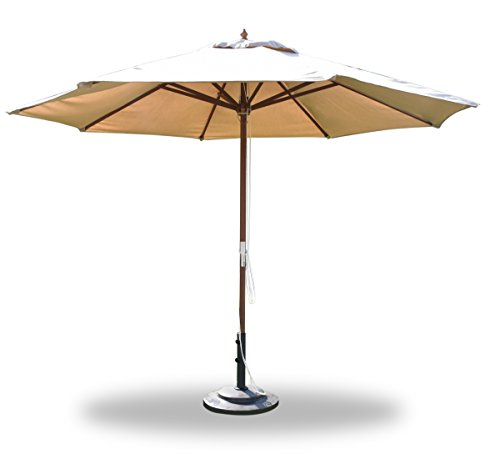 Large 11 Feet Round Wooden Sunbrella Fabric in Any Color Outdoor Market Umbrella with Pulley System - choose any Sunbrella Fabric #WFAXUMb (Umbrella Market Pulley 4 Round)