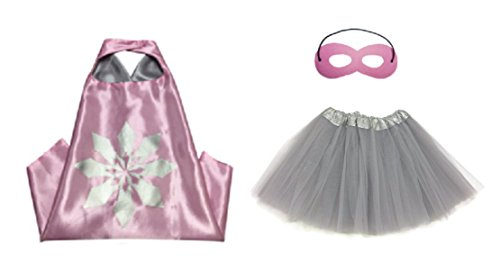 [Rush Dance Kids Children's Deluxe Comics Super Hero CAPE & MASK & TUTU Costume (Anna (Gray Tutu))] (Lego Ninja Costume)