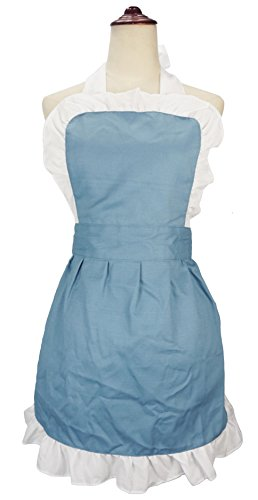 Cleaner Fancy Costume Dress (LilMents Women's Ruffle Outline Retro Apron Kitchen Cake Baking Cooking Cleaning Maid Costume)