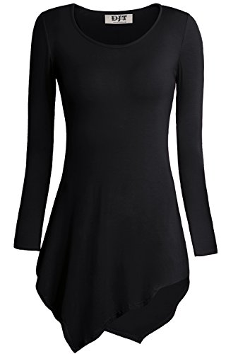 DJT Mujeres Asimetrica Camisa Blusa de Manga Larga Estilo Elastico Tunic Shirt Tee Negro Clasico-Estilo 2