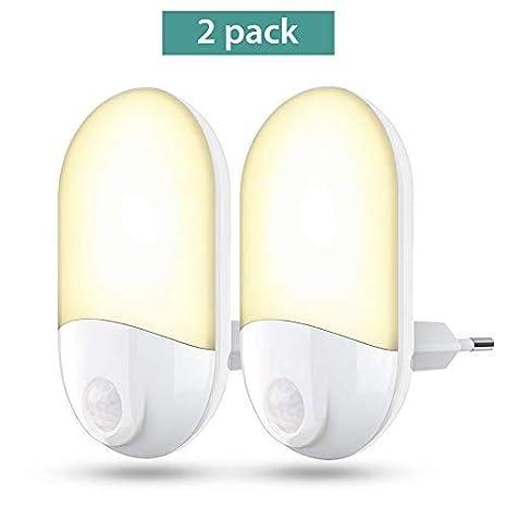 Luces de noche LED Enchufe en la pared, 30 lúmenes Luz de noche brillante con sensor de fotocélula y sensor de movimiento, Lámpara de noche con sensor ...