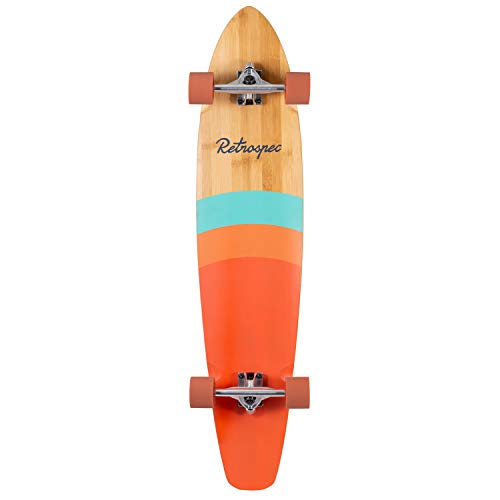 Retrospec Zed Bamboo Longboard Skateboard Complete Cruiser, Golden Sunset