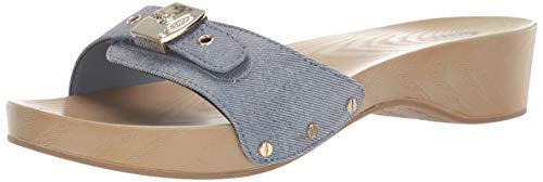 Dr. Scholl's Shoes Women's Classic Sandal, Seabreeze Blue Metallic Denim, 10 M US Denim Patent Leather Sandals