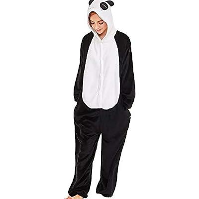 aliveGOT Women's Panda Ears Hooded one-Piece Fleece Onesie for Winter Pajamas