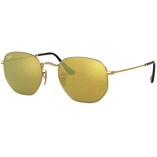 Ray-Ban RB3548N Hexagonal Flat Lenses Sunglasses, Shiny Gold/Blue Flash, 54 mm ()