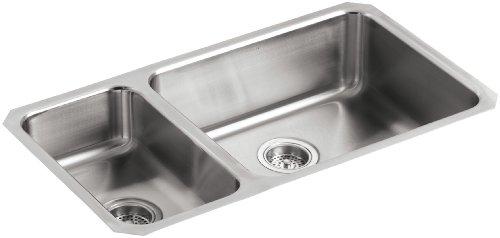 KOHLER K-3352-L-NA Undertone High/Low Undercounter Kitchen Sink, Stainless Steel