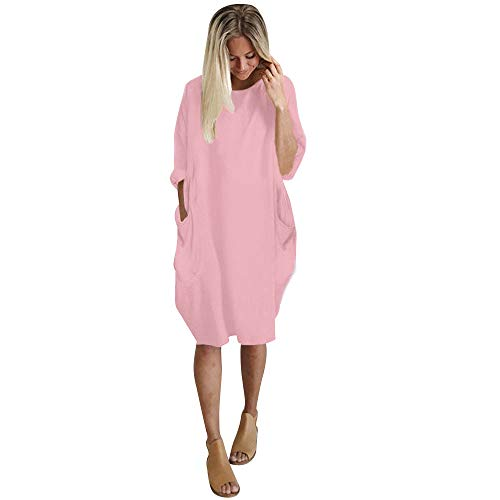 iLUGU Neutral Knee-Length Dress for Women Long Sleeve Boatneck Solid Color Pocket Long Tops Plus Size Pink