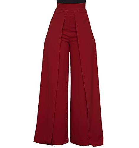 - Women's High Waisted Palazzo Pants - Elegant Wide Leg Flare Pants Head Turner Wine Red X-Large