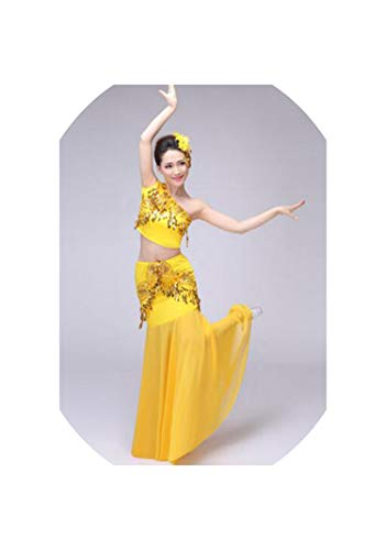 Sexy Belly Dance Costume Set Suit Women Adult Indian Bollywood Dance Skirt Top Set,Yellow,L