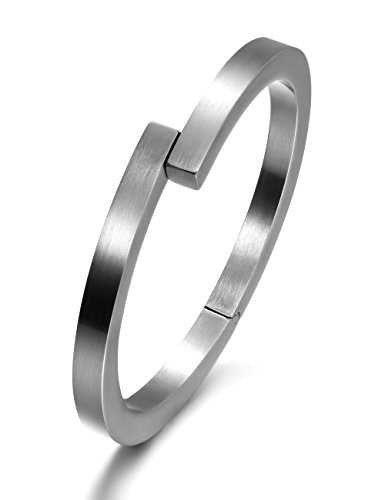Wistic Black Bracelet with Stainless Steel Bangle Cuff and Magnetic-Clasp Plain Polished for Men Boy (White) (Modern Mens Bracelet)