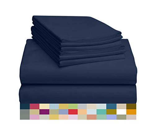 - LuxClub 4 PC Microfiber and Bamboo Sheet Set: Bamboo Bedding Sheets with Microfiber - Softer and More Breathable Than Cotton - Antibacterial and Hypoallergenic - Machine Washable, Navy, Queen