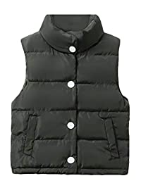 Sayhi Boys and Girls Puffer Vest Fall Winter Stand Collar Warm Quilted Down Vest