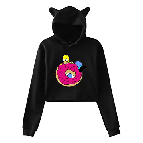 Simpsons Halloween Donut (Qmad Women's Sim_psons Donut Cat Ear Comfortable Sweater Cropped Style Design Fit for Casual)