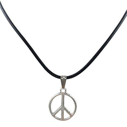 Laimeng New Retro Peace Necklace Pendant Black Leather Cord Choker Charm Choker Necklace (Black)