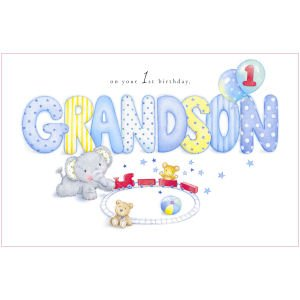 Grandson 1st Birthday Card