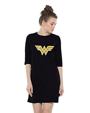 ebc77fb5 Melcom Women's Cotton Wonder Woman Printed 3/4 Sleeves T-Shirt Dress (MWW