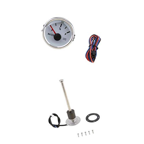 (kesoto 200mm Stainless Steel Fuel Tank Liquid Water Level Sensor with 52mm 2 inch Indicator Gauge Meter for Boats Yacht RV)