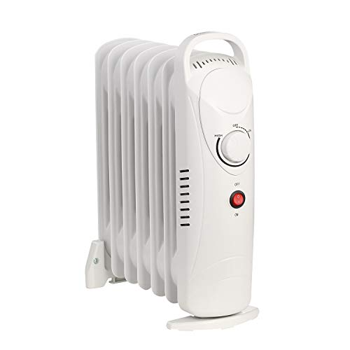 Mini Oil Filled Radiator - Mini Electric Oil Filled Radiator Heater-Room Radiant Thermostat White 700W