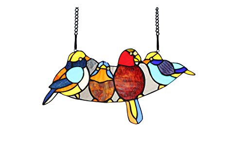(Yolic 16 Inch Wide Tiffany Stained Glass Four Song Birds Window Panel)
