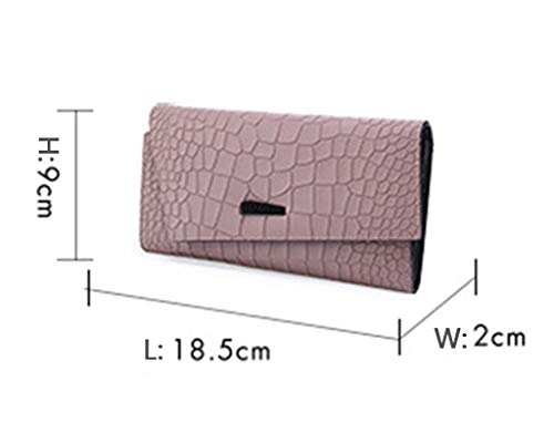 Pink Fold Women card Wallet Multi Long Section Clutch Three Wallet Leather Crocodile Women's n14ZUS