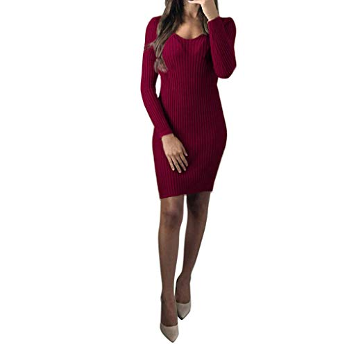UOKNICE Dresses for Women, Spring Summer Casual Fashion Long Sleeve Solid Loose Party Sundress Blouses Tops Dress Ruffle sexis 21st Photo Printed at BCBG Patterns Couture Mauve Over ()