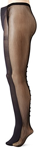 Jessica Simpson Women's Chole Fishnet with Bow Back Details and Scallop Edge Opaque Fashion Tight 2-Pack, Black/Black, Small