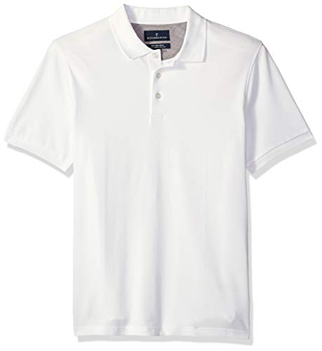 BUTTONED DOWN Men's Slim-Fit Supima Cotton Stretch Pique Polo Shirt, White, Large