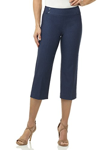 Rekucci Women's Ease in to Comfort Fit Capri with Button Detail (10,Indigo)